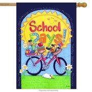 "school days! fall back to school house flag sun bicycle weekdays 28""x40"""