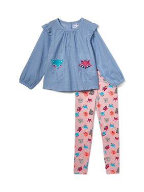 Freestyle Revolution Critter Chambray Tunic & Printed Leggings, 2pc Outfit Set (Baby Girls & Toddler Girls)