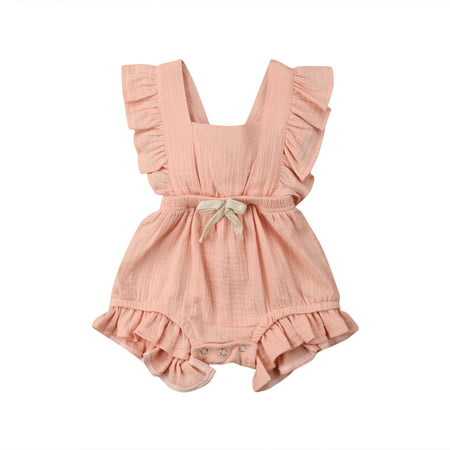 Newborn Baby Girl Romper Bodysuits Cotton Ruffle Sleeve One-Piece Romper Outfits Clothes