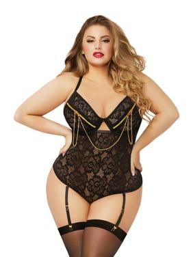 Product Image Plus Size Floral Lace Teddy Zipper Underwire Snap Crotch  Bodysuit Lingerie cf2082c0c