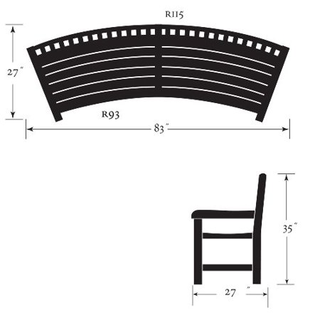 Curved garden bench with back furniture compare prices for Oxford garden designs