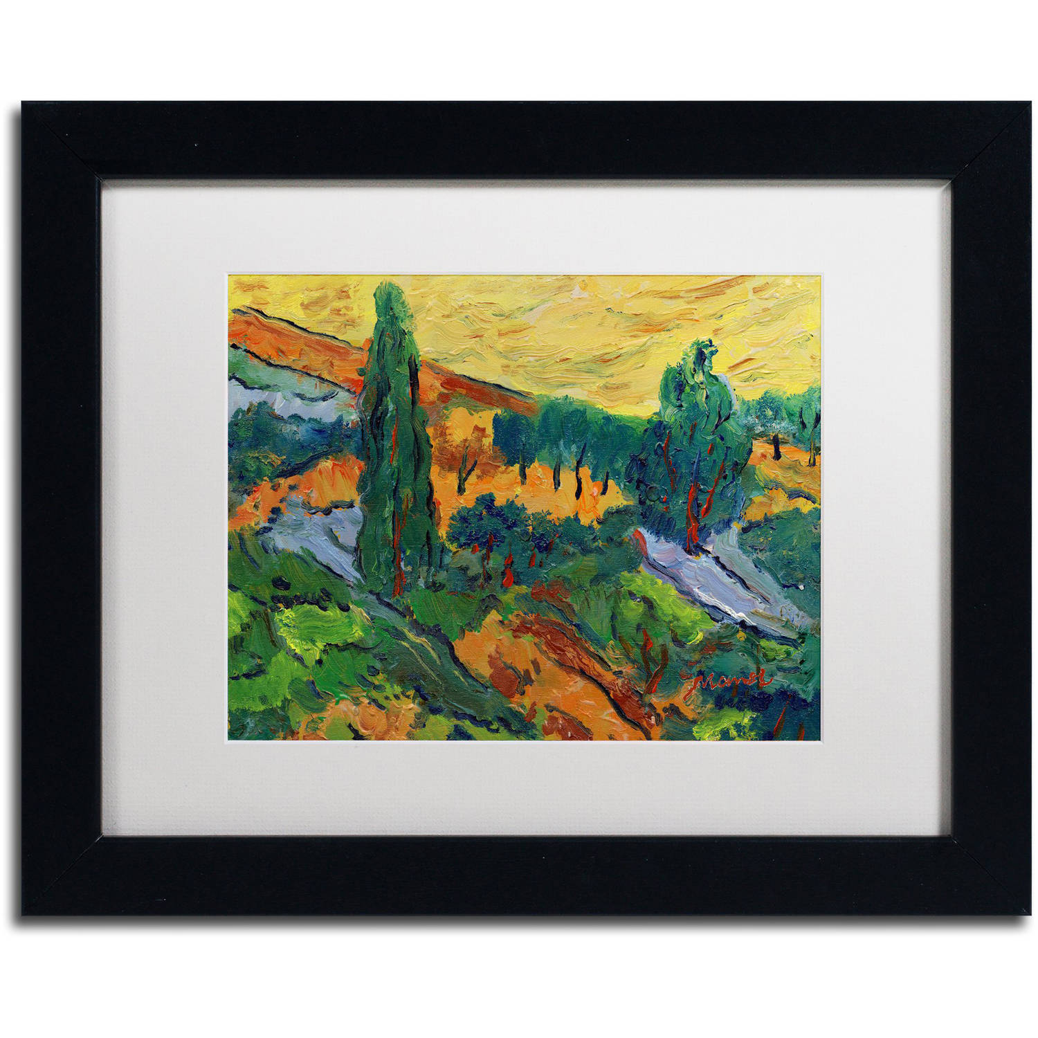 "Trademark Fine Art ""Sunset Ends a Summer Day"" Canvas Art by Manor Shadian White Matte, Black Frame"
