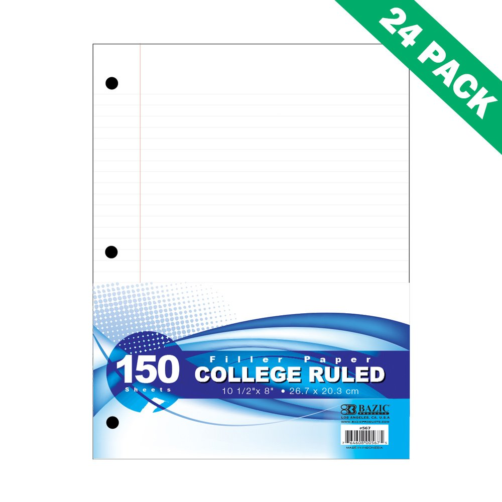 Notebook Filler Paper, Bazic Paper Filler College Ruled 150 Ct (24 Unit Pack)