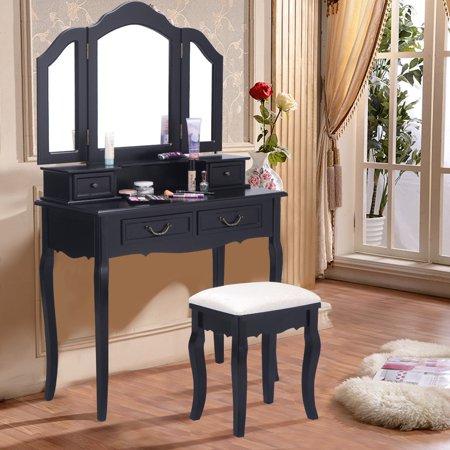 Costway Tri Folding Mirror Bathroom Wood Vanity Set Makeup Table Dresser 4 Drawers Stool