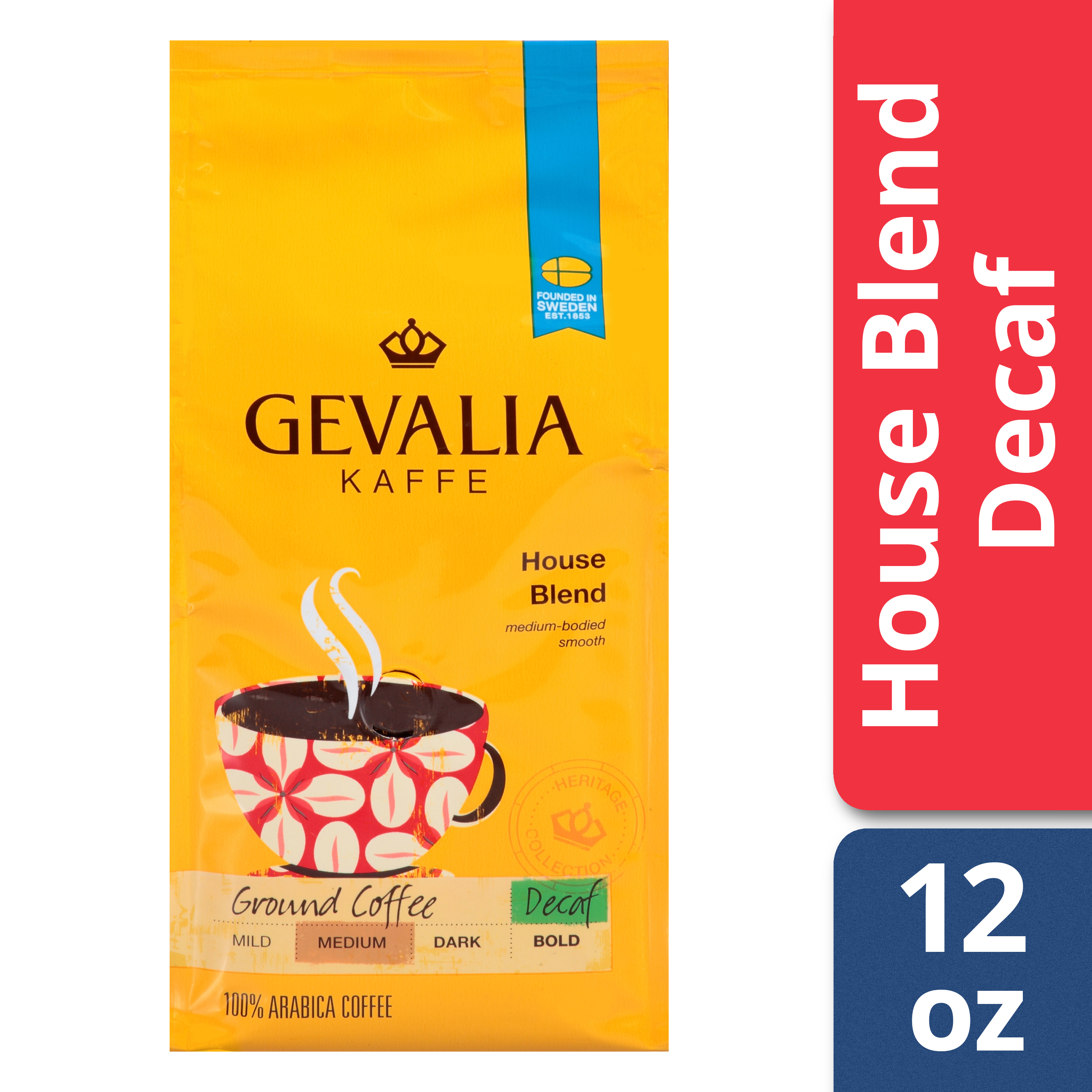 Gevalia Decaf House Blend Ground Coffee, 12 oz Bag