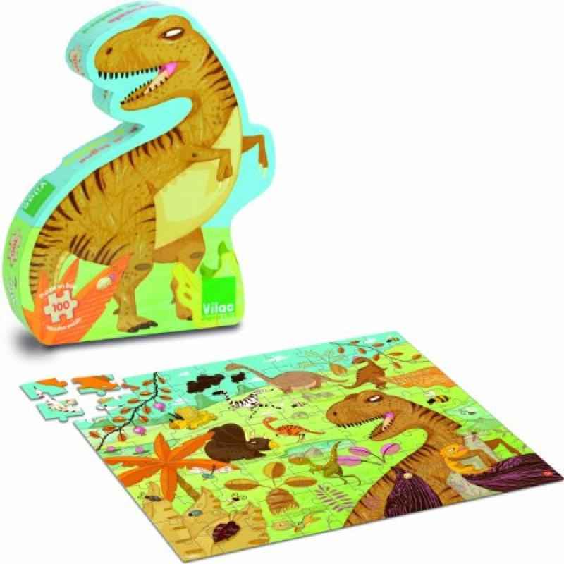 Vilac Dinosaur Wood Puzzle (100 Piece), 40 x 30.5cm by