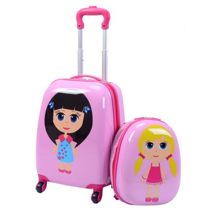 Costway 2Pc 12'' 16'' Kids Girls Luggage Set Suitcase Backpack ...