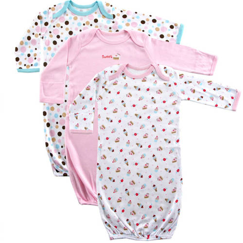 Luvable Friends Newborn Baby Girls Gowns 3-Pack, 0-6 months