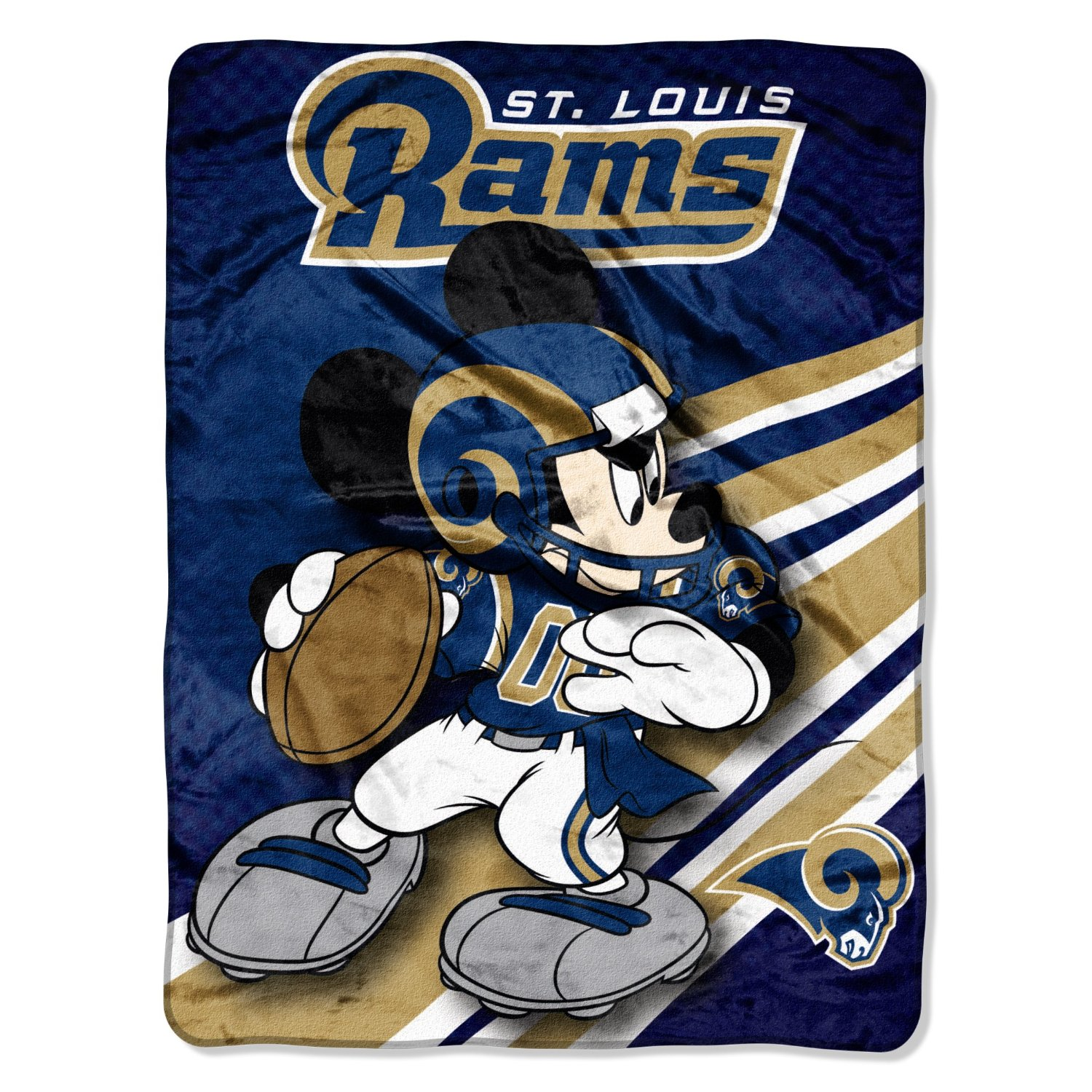 NFL St. Louis Rams Mickey Mouse Ultra Plush Micro Super Soft Raschel Throw Bl...
