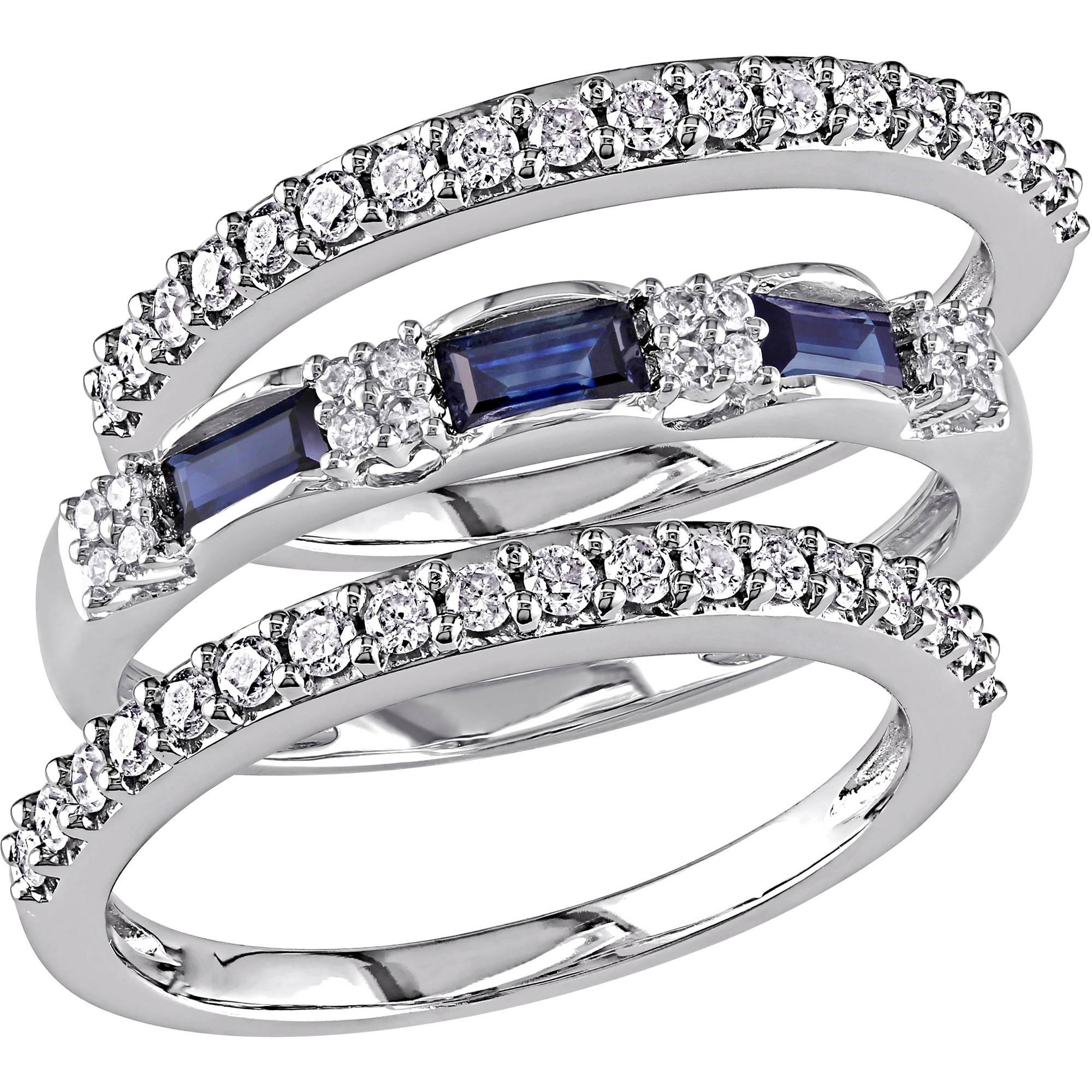 Tangelo 1/2 Carat T.G.W. Blue Sapphire and 1/2 Carat T.W. Diamond 10kt White Gold 3-Piece Ring Set