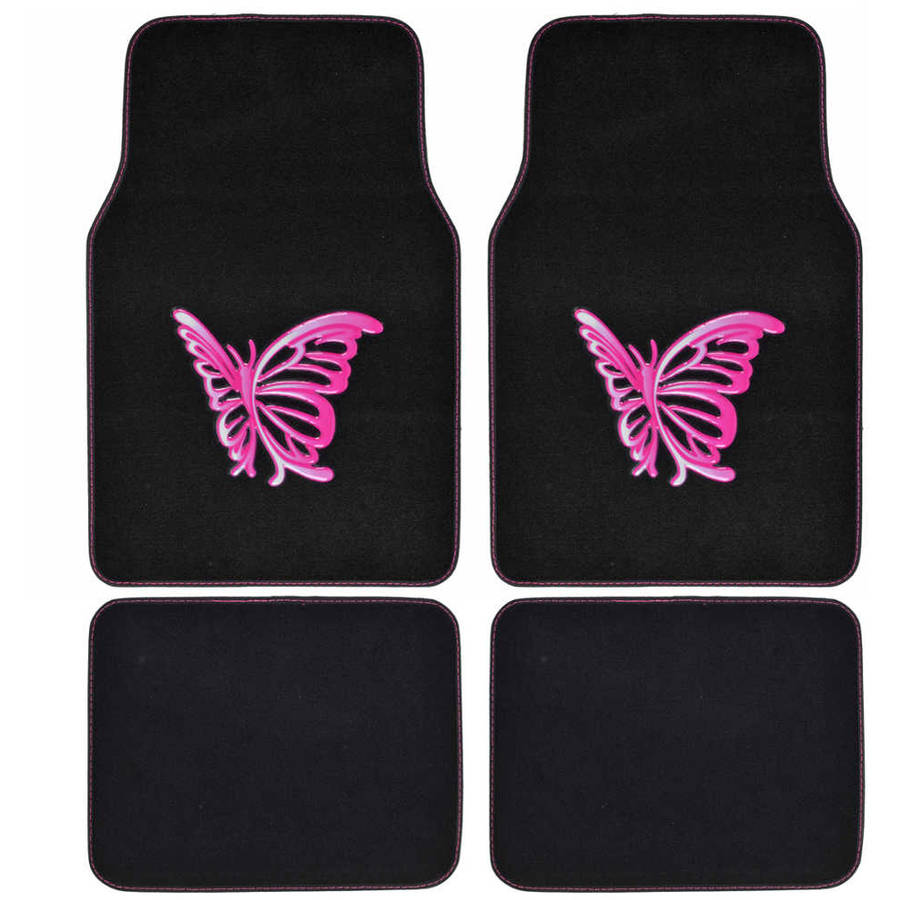 Pink Butterfly Car Floor Mats, 4 Piece Design Mats