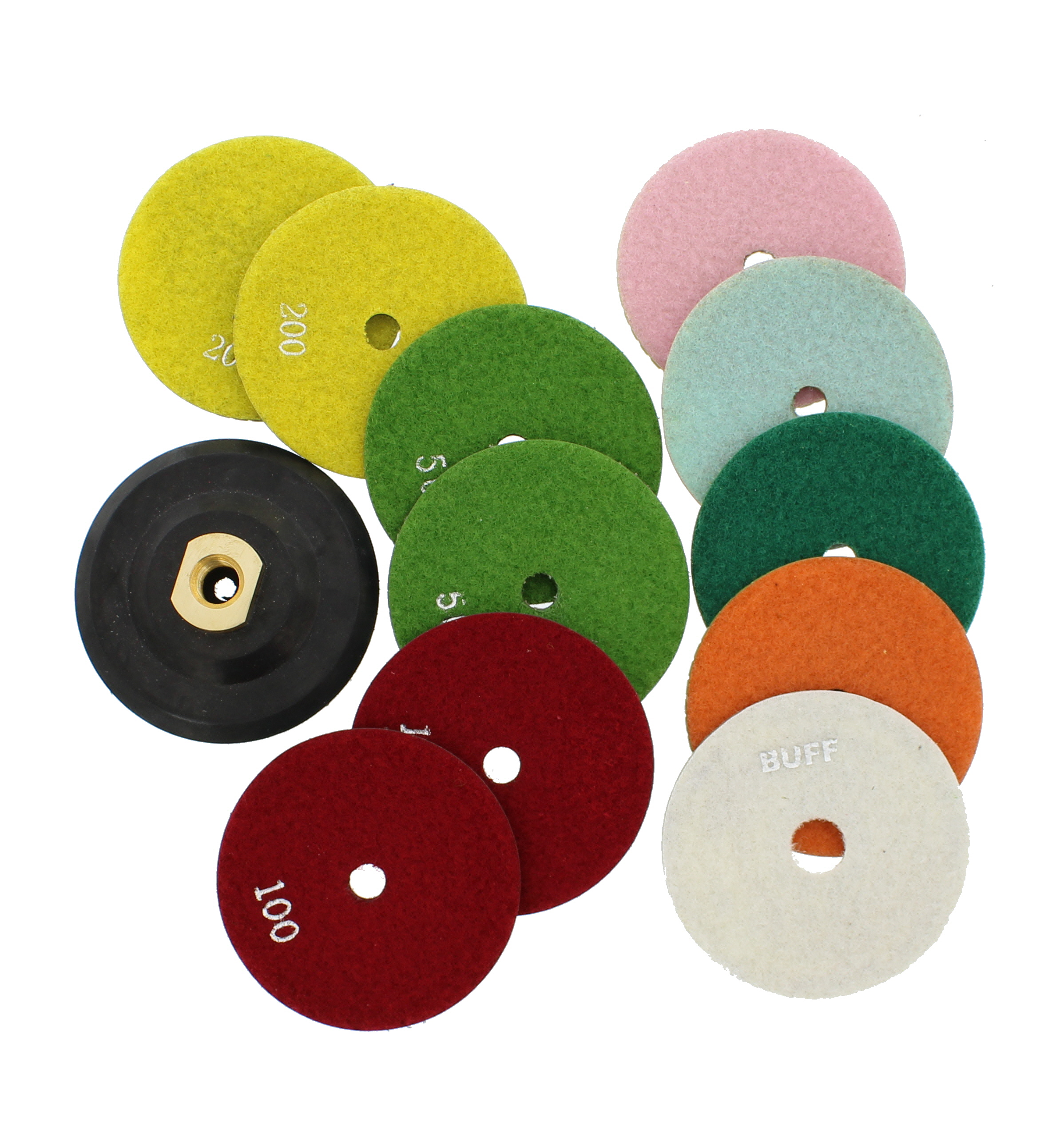 "ABN 4"" Wet/Dry Diamond Polishing Pads & Buffer, 12-pc for Granite, Stone, Marble"