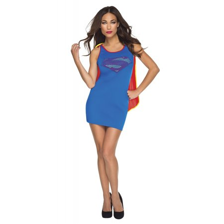 Justice League Tank Dress Adult Costume Superwoman (royal blue) - Small
