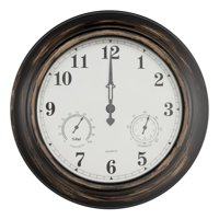 """Wall Clock Thermometer-Indoor Outdoor Decorative 18"""" Quartz Battery-Powered, Waterproof Clock, Temperature and Hygrometer Gauge by Pure Garden"""