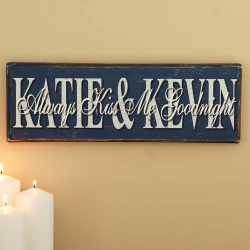 "Personalized ""Always Kiss Me Goodnight"" Canvas Wall Décor"