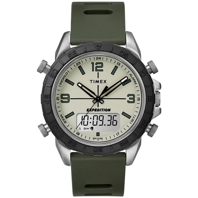 Timex Men's Expedition Pioneer Combo 41mm Green/Black/Natural Watch, Silicone Strap