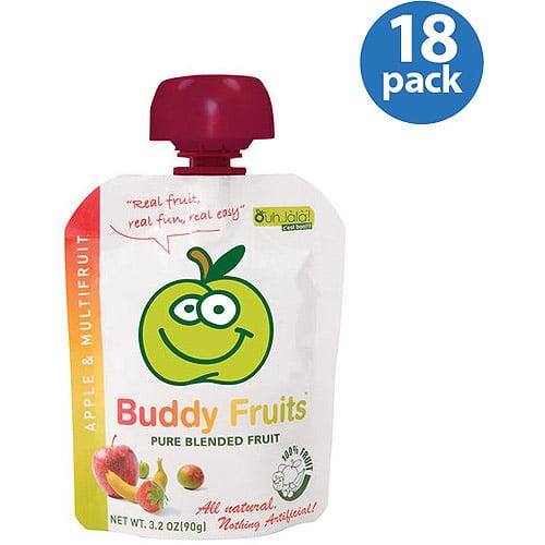 Buddy Fruits Apple & Multifruit Pure Blended Fruit, 3.2 oz (Pack of 18)