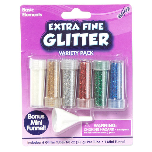 Kids Craft 6pk Extra Fine Glitter, Assorted