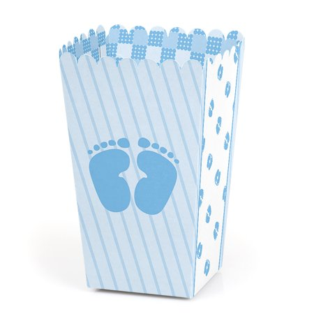 Baby Feet Blue - Baby Shower Party Favor Popcorn Treat Boxes - Set of covid 19 (Baby Shower Treat Bags coronavirus)