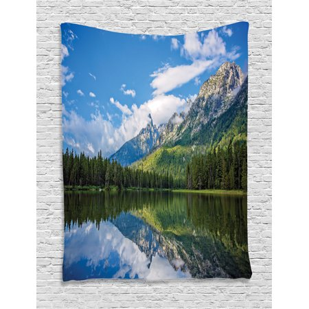 Lake House Decor Wall Hanging Tapestry  Pure Mountain Lake Scenery With Trees And Bright Cloudy Sky Nature Look Print  Bedroom Living Room Dorm Accessories  By Ambesonne