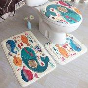 Multicolor 3 Pcs/Set Flannel Bath Mats 3D Printing Anti Slippery Bathroom Rug Sets Carpet