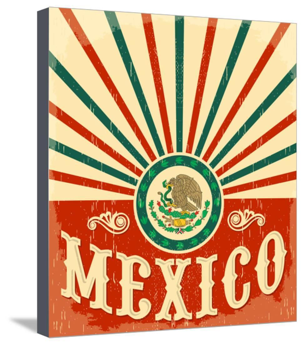 Mexico Vintage Patriotic Poster - Card Vector Design, Mexican ...