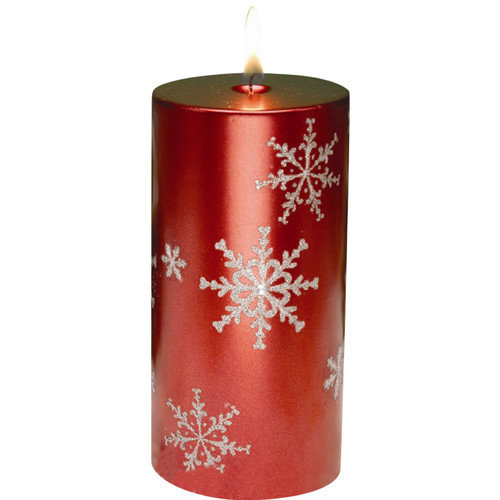 Biedermann and Sons Snowflake Pillar Candles (Set of 2)