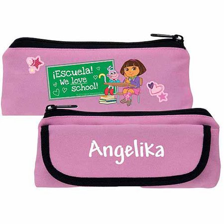 Personalized Dora the Explorer We Love School Pink Pencil Case