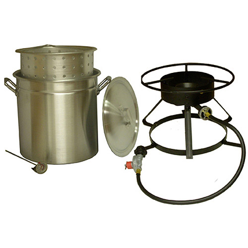 King Kooker 50-Quart Aluminum Ridge Pot with Steamer Basket and Propane Outdoor Cooker Package