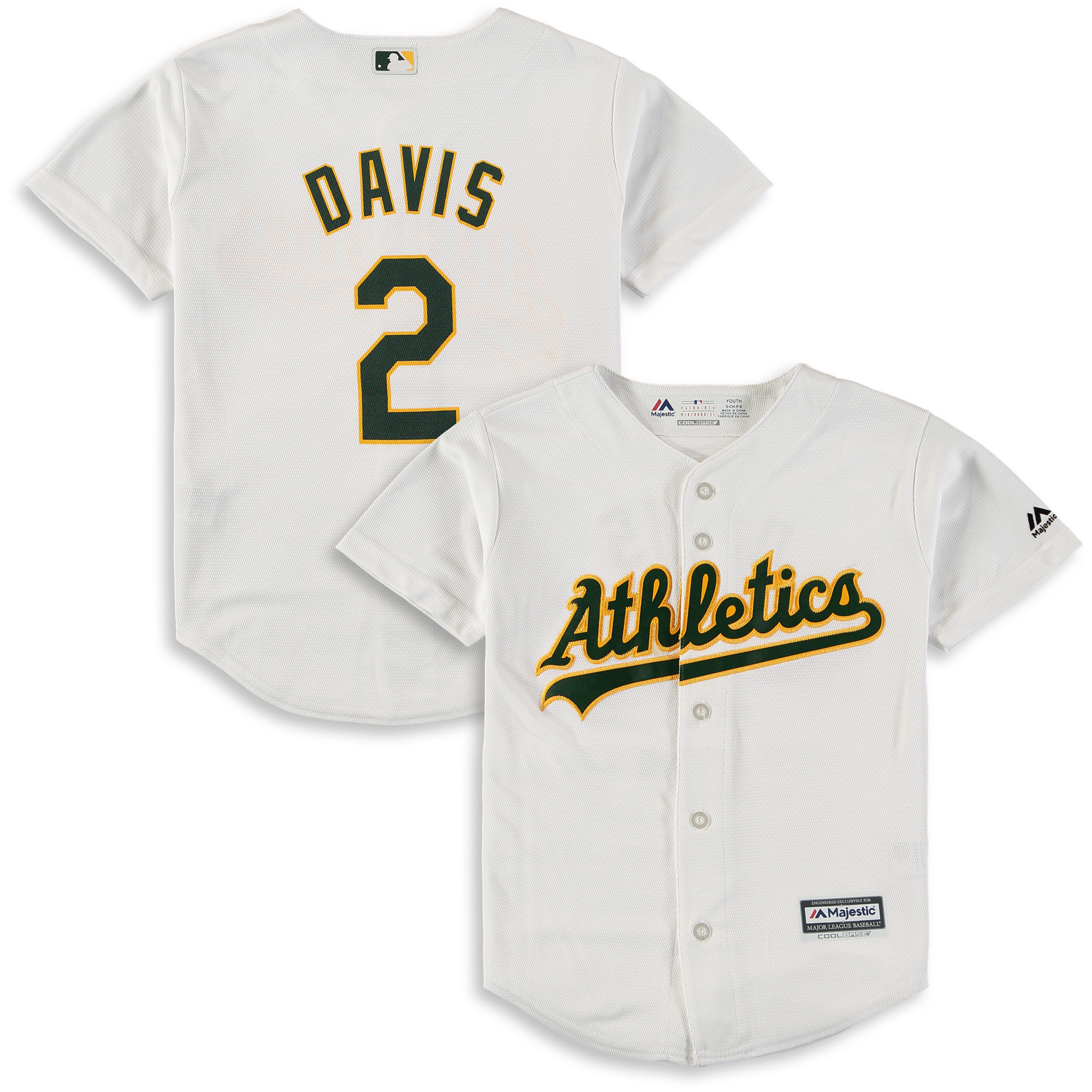 Khris Davis Oakland Athletics Majestic Youth Home Official Cool Base Player Jersey - White