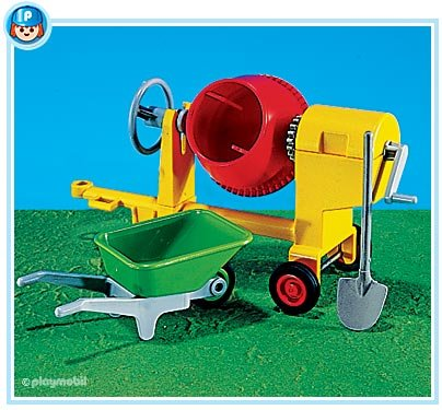 Cement Mixer with Wheelbarrow, 7140 Cement Mixer with Wheelbarrow By PLAYMOBIL by