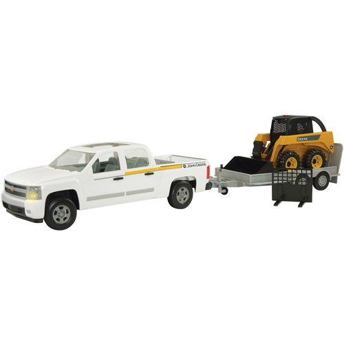 John Deere 1/16 Scale Big Farm Pickup with Skidsteer and Flatbed Trailer