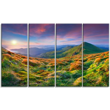 Design Art 'Purple Sky and Green Mountains' 4 Piece Photographic Print on Wrapped Canvas - Mountain 4 Light