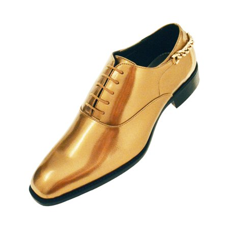 Bolano Mens Smooth Shiny Patent Plain Toe Oxford Dress Shoe with Gold Heel Chain Available in Gold, Turquoise, Royal, Fuschia, White, Red, & Black