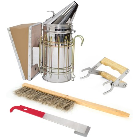 - Beekeeping Starter Tool Kit Set of 4 Bee Hive Smoker, Brush, Frame Grip, and J-Hook Lifter Equipment by VIVO (BEE-KIT2)