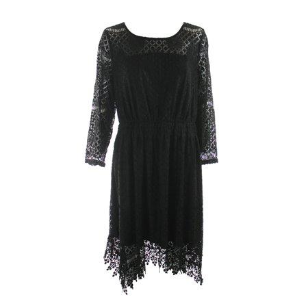 Americanrag American Rag Plus Size Black Handkerchief Hem Lace