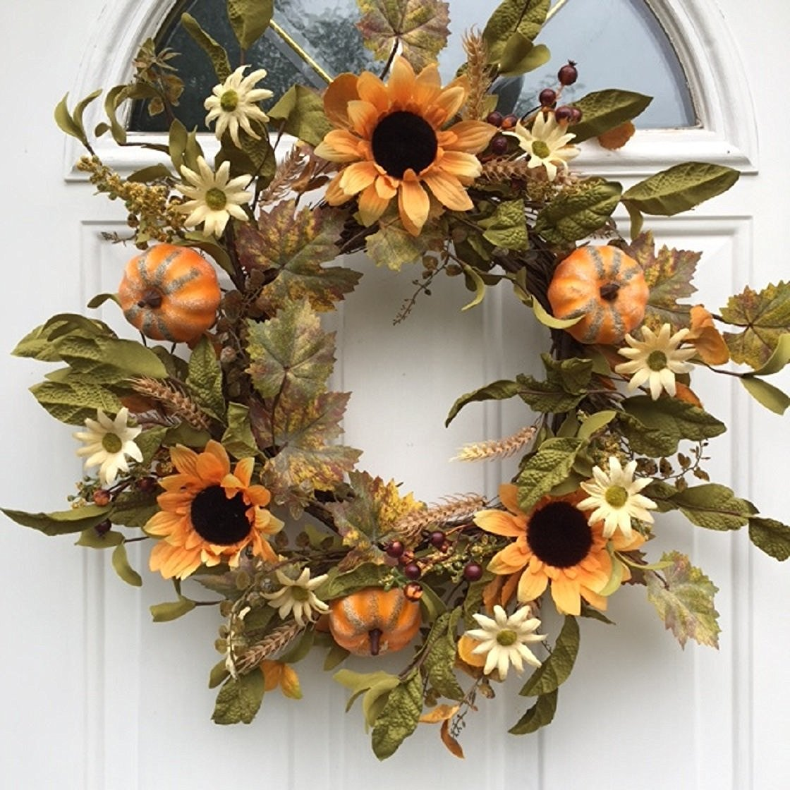Fall Wreath with Sunflower  Fall Door Decor  Thanksgiving Wreath