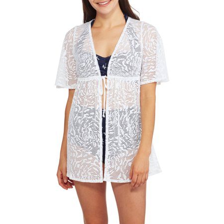 b0337fd2da964 Catalina - Women s Tie-Front Crochet Tunic Swim Cover-Up - Walmart.com