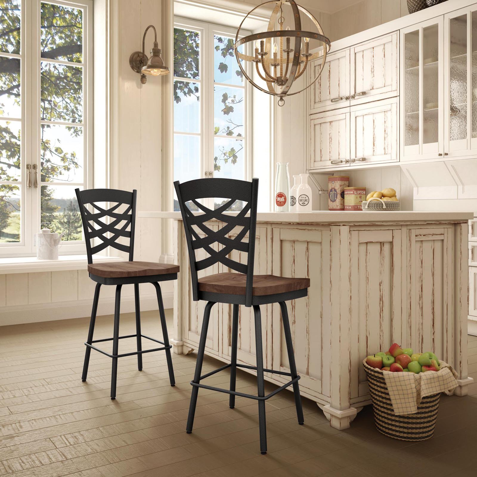 Amisco Weaver 26 in. Swivel Counter Stool