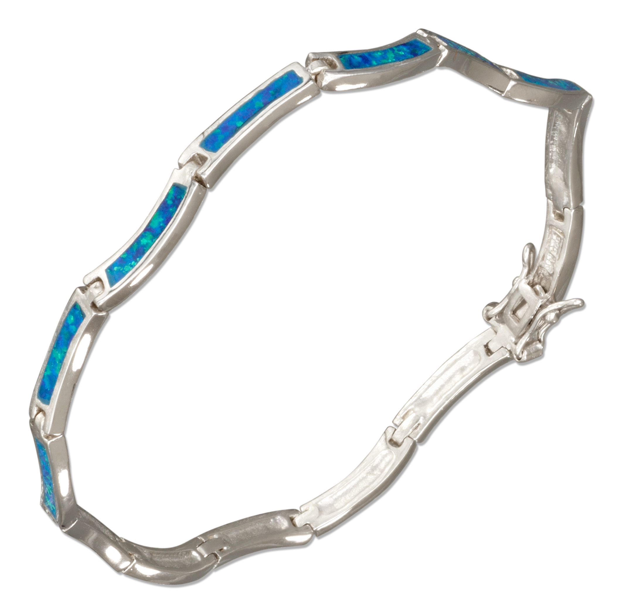 "STERLING SILVER 7.5"" WAVY LINK SYNTHETIC BLUE OPAL BRACELET by"