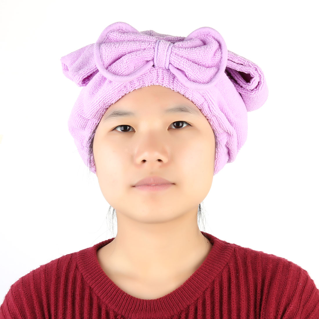 Bathing Butterfly Knot Decor Elastic Band Dry Hair Cap Towel