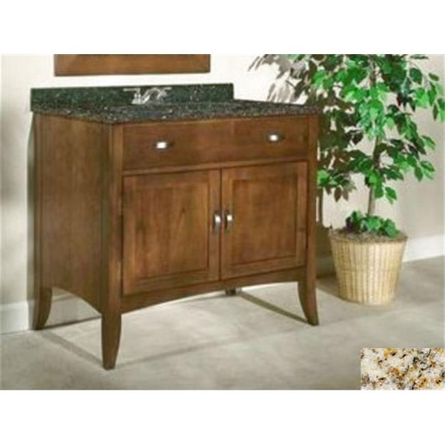 Kaco International 385-3000-GH Metro 30 inch Vanity with a Brown Cherry Krylon Finish and Gold Hill Granite Top