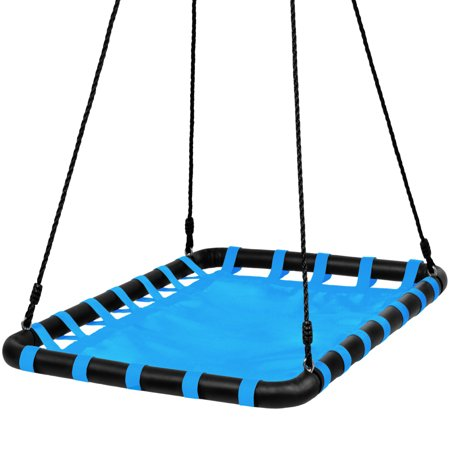 Best Choice Products 40x30in Kids Outdoor Large Heavy-Duty Mat Platform Tree Spinning Swing w/ Rope, Metal Loops - Blue (Fireman Pole For Swing Set)