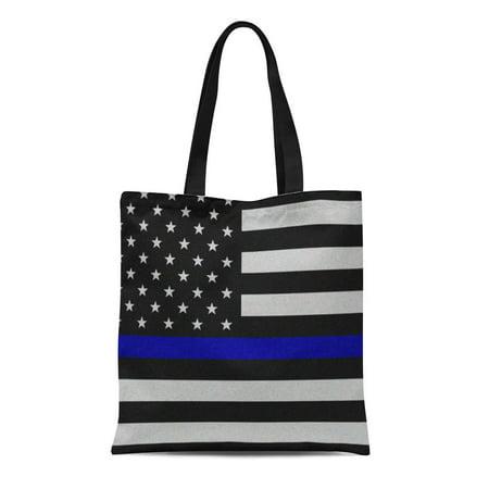 Law Enforcement Bags (ASHLEIGH Canvas Tote Bag Wife Thin Blue Line Flag Law Enforcement Police Policeman Reusable Handbag Shoulder Grocery Shopping)