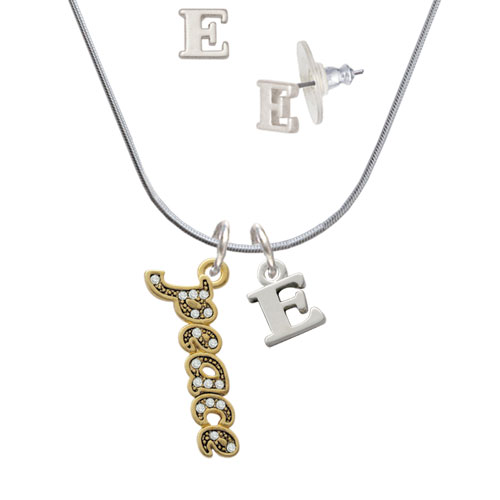 Gold Tone Script ''Peace'' with Clear Crystals E Initial Charm Necklace and Stud Earrings Jewelry Set by Delight and Co.