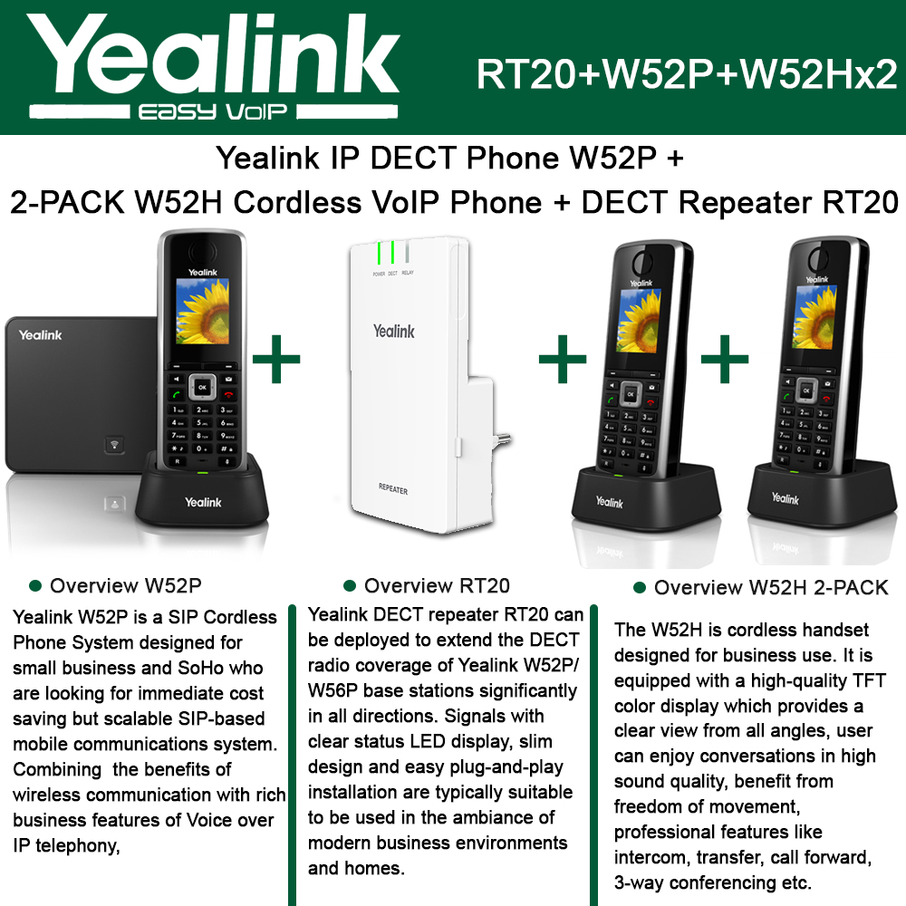Yealink W52P IP DECT Phone + 2PACK W52H Cordless VoIP Pho...