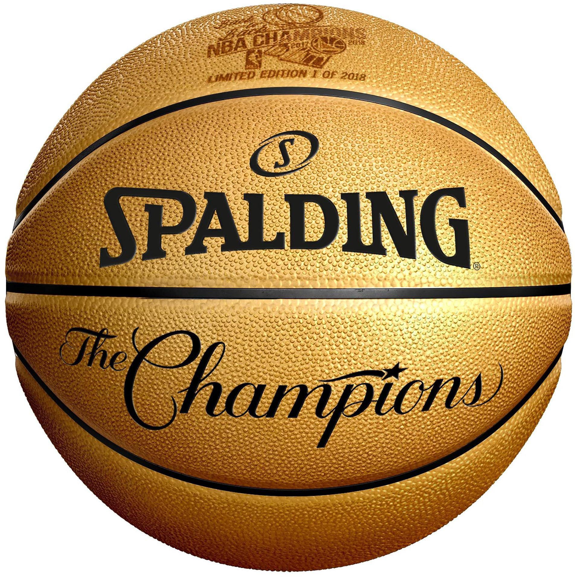 Golden State Warriors 2018 NBA Finals Champions Spalding Gold Laser Engraved Basketball
