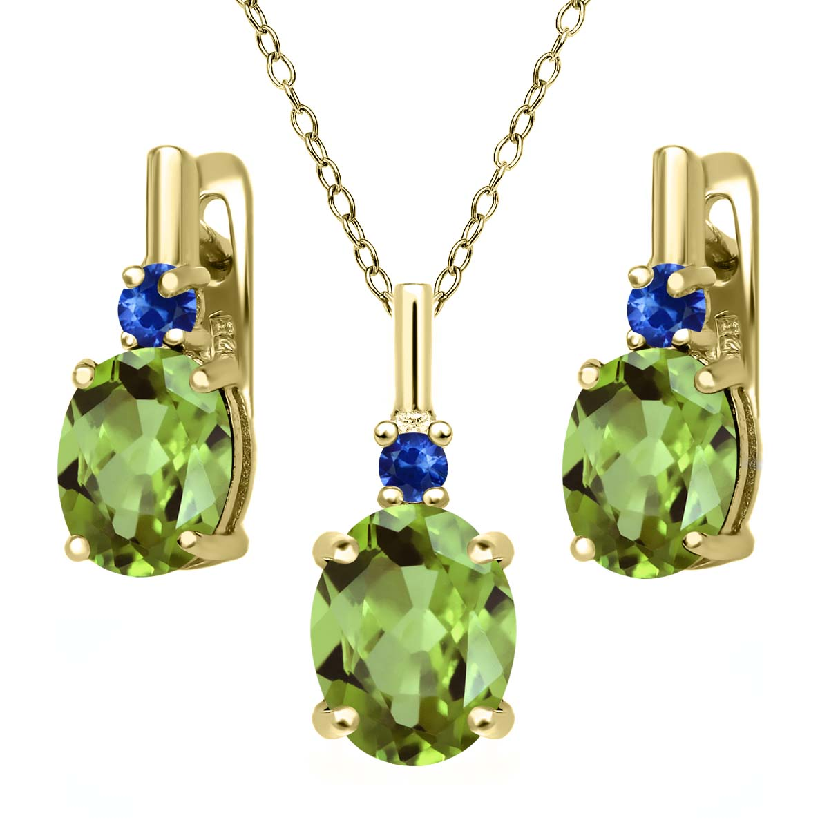 4.13 Ct Green Peridot Blue Sapphire 18K Yellow Gold Plated Silver Pendant Earrings Set by