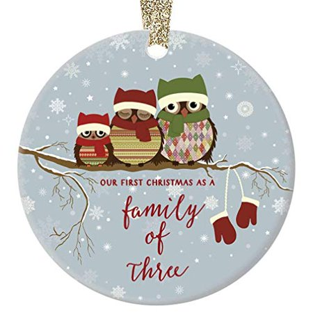 First Christmas as a Family of Three Ornament, 1st Christmas as Mommy & Daddy, Owl Family of 3, 3