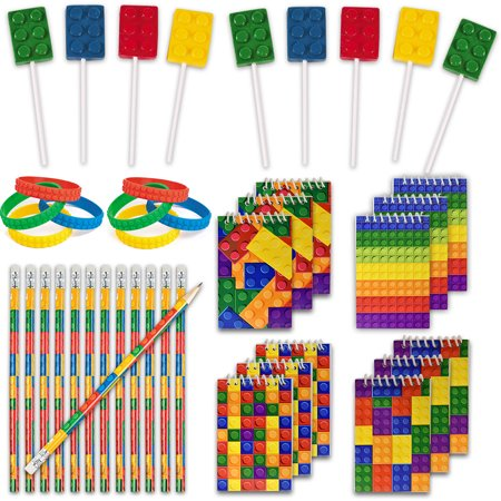 Lego Batman Birthday Party Supplies (48 Building Blocks Favors - 12 Lollipop Suckers in 4 Flavors + 12 Bracelets + 12 Mini Notepads + 12 Pencils, Great for Lego Enthusiastic Kids - Brick Birthday Party)